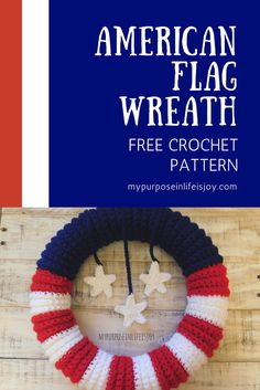 This simple free crochet pattern is the perfect patriotic addition to your summer BBQ! Crochet American Flag Wreath pattern includes instructions and step-by-step photos. #crochet #crochetpattern #americanflag #redwhiteandblue