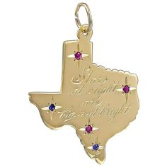 Big Beautiful Gold Gemset Texas Charm | From a unique collection of vintage more jewelry at https://www.1stdibs.com/jewelry/more-jewelry-watches/more-jewelry/
