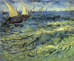 Fishing Boats at Sea - Vincent van Gogh, oil on canvas, 1888