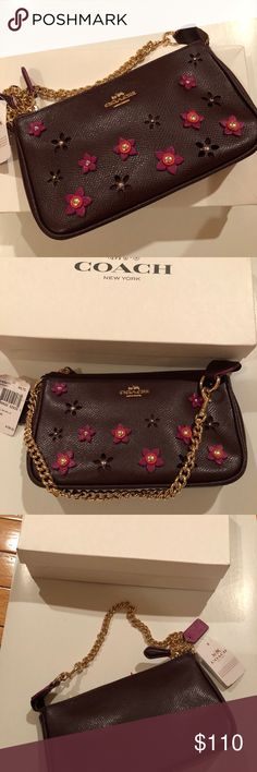 COACH brown leather w/pink floral mini purse NEW COACH brown leather w/pink floral mini purse with Gold logo and gold chain NEW Coach Bags Mini Bags