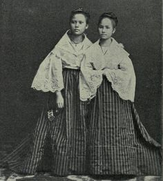 Two FILIPINA Maidens, MANILA _1898 Philippines Outfit, Miss Philippines, Philippines Fashion, Philippines Culture, Modern Filipiniana Dress, Filipino Fashion, Philippine Women, Filipino Culture, 1890s Fashion