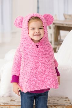 Playful Hooded Poncho Free Knitting Pattern in Red Heart Yarns Hooded Poncho Pattern, Poncho Knitting Patterns, Knitting Wool, Knitted Poncho, Knitting For Kids, Knit Patterns, Free Knitting, Crochet Baby, Knit Crochet