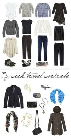 3 Week Travel Packing Capsule Wardrobe by Une Femme Wardrobe Planner, Travel Wardrobe, Capsule Wardrobe, Travel Outfits, Travel Dress, Travel Photography Tumblr, Travel Capsule, Fall Capsule, Europe Fashion