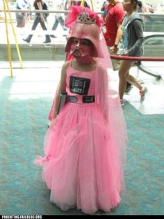 Pink Darth Vader costume, because girly girls can like darth vader too