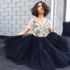 Space 46 black tulle skirt, blogger greylayers.com