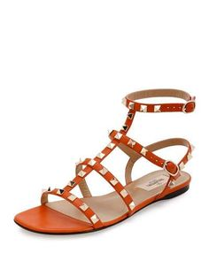 X3DRF Valentino Rockstud Leather Flat Sandal, Orange