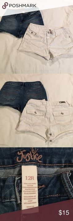 Two pair of Justice denim shirts size 12 Gently worn shorts size 12.  They have about. 2.5 inch inseam.  No stains, tears or holes.  Items come from a smoke free home Justice Bottoms Shorts