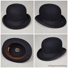 Vintage bowler hat / Derby hat. Black felt fur bowler from Stetson.