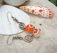 Orange Operculum shell earrings in copper by EdisLittleTreasures, $24.00