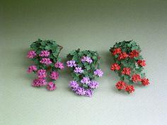 Hiedra hoja de geranio papel flor Kit para escala 1/12 casas de muñecas, floristerías y jardines en miniatura