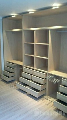 Armario- walk in wardrobe But I would have clear drawers or labels on each drawer.