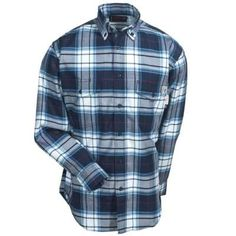 Wolverine Shirts: W1203330 417 Button Up Plaid FR Men's Navy Shirt