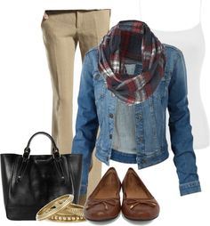 """""""Plaid, Khaki,Leather, and Denim"""" by ohmeejean on Polyvore"""