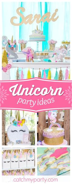 Take a look at this wonderful Unicorn 1st birthday party! The pinata is so much fun! See more party ideas and share yours at CatchMyParty.com #catchmyparty #partyideas #unicornbirthdayparty #1stbirthdayparty