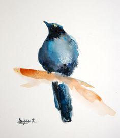 Bleu peinture aquarelle originale de Bird oiseau Art par CanotStop, $30.00