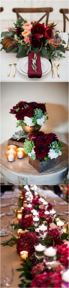 burgundy wedding centerpiece ideas_2 #fallwedding #weddingideas #weddingdecor #weddingcenterpiece #weddinginspiration
