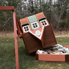 This happened last night ! Their playhouse flew at least 10 feet. If I were handy this wouldn't be an issue...but I'm not!