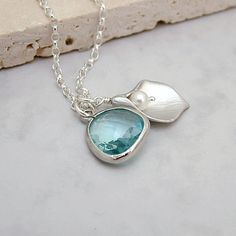 Jewel and Calla Lily Necklace with Aquamarine by RoseAndRaven, $27.50