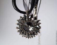Купить Кулон Черный Лебедь - чёрный, серебряный, кулон на шнуре, украшение на шею, подвеска