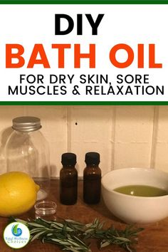 Easy DIY bath oil recipe for sore muscles, relaxation and dry skin. This homemade bath oil diy recipe is a great natural remedy for sore muscles and joint pain relief as well as an amazing moisturizer for dry skin. Oil For Dry Skin, Moisturizer For Dry Skin, Skin Care Remedies, Natural Health Remedies, Remedy For Sore Muscles, Spa Food, Diy Skin Care, Natural Medicine, Oil Recipe