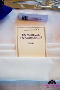 Menu sur le thème du livre au mariage de Mme Bovary