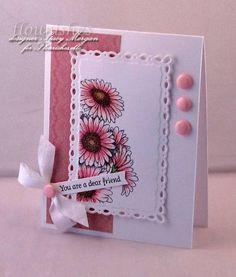 Gerbera daisies ; Spellbinders Romantic rectangles