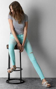 mint skinnies + striped tshirt