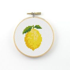 Lemon cross stitch pattern lemon pattern food patterns ringcat add the mid century decor touch to your home interior design project! this is the time to spend your evening nights with the very best of the dining room decor! Cross Stitch Fruit, Simple Cross Stitch, Kawaii Cross Stitch, Cross Stitching, Cross Stitch Embroidery, Embroidery Patterns, Cross Stitch Designs, Cross Stitch Patterns, Quilt Pattern