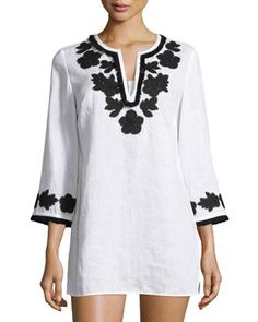 Applique-Trim+Tunic,+New+Ivory+by+Tory+Burch+at+Neiman+Marcus.