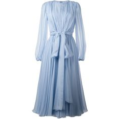 Dolce & Gabbana pleated bow dress ($3,845) ❤ liked on Polyvore featuring dresses, blue, pleated circle skirt, blue circle skirt, flared skirt, pleated dress and long dresses