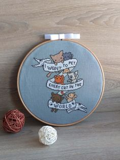 Happy International Cat Day! We love this cute cat cross stitch design from AnnaXStitch on Etsy. xx