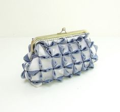 Cubes Clutch Purse  Smocked Gingham Denim Blue and by StarBags, $64.00