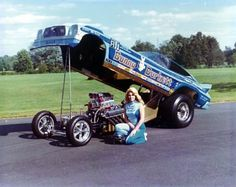 """Carol """"Bunny"""" Burkett is one of the pioneering figures and most successful drivers in the history of drag racing. Funny Car Drag Racing, Nhra Drag Racing, Funny Cars, Auto Racing, Nascar Racing, Women Drivers, Old Race Cars, Vintage Race Car, Drag Cars"""