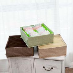 Foldable Socks Bras Underwear Organizer Box – HomeAlls Underwear Organization, Closet Organization, Linen Fabric, Cotton Linen, Organizer Box, Dorm Room, Decorative Boxes, Handkerchiefs, Storage