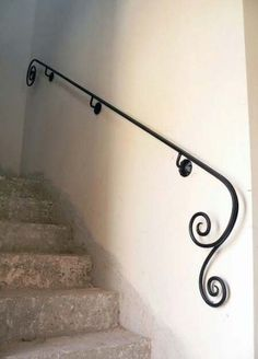 Wrought Iron Stairs Railing Ideas 42 IdeasYou can find Wrought iron decor and more on our website. Iron Handrails, Wrought Iron Stair Railing, Iron Staircase, Stair Railing Design, Wrought Iron Decor, Stair Handrail, Staircase Railings, Railing Ideas, Iron Railings