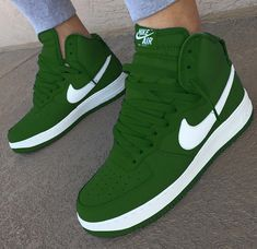 brand new 6761d 55a91 Nike Air Force 1 High Green Sneakers Nike, Green Sneakers, Sneakers For  Sale,