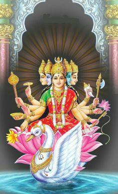 Saraswati Goddess, Indian Goddess, Durga Maa, Shiva Shakti, Goddess Lakshmi, Gayatri Devi, Gayatri Mantra, Hanuman Images, Lord Shiva Family