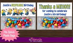 Personalized Despicable Me Minions Birthday Party Favor Treat Bag Toppers Goodie (Goody) Bag by DannisCuteCreations