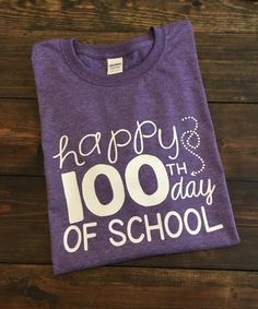 ~~Happy 100th Day Of School~~ This design is done on a regular unisex fit softstyle short sleeve t-shirt. The color menu is for shirt color. The design will be either white or black depending on which