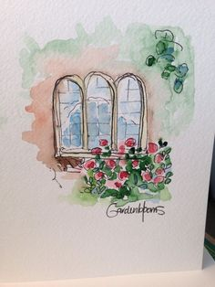 Windows Watercolor Card by gardenblooms on Etsy Watercolor Projects, Watercolor Drawing, Watercolor Techniques, Watercolor Landscape, Watercolor And Ink, Watercolor Flowers, Painting & Drawing, Watercolor Paintings, Watercolors