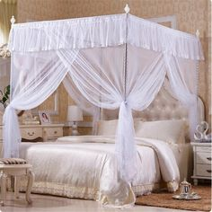 1.2x2m Lace Palace Folding Mesh Insect Mosquito Net Four Corner Bedding Canopy Curtain