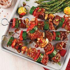 Brochettes de boeuf et légumes, sauce barbecue - Recettes - Cuisine et nutrition - Pratico Pratique