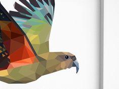 New Zealand bird Kea art Mountain parrot by tinykiwiPrints on Etsy Geometric Bird, School Murals, New Zealand Art, Nz Art, Green Wall Art, Kiwiana, Nature Prints, Parrot, Fine Art Prints
