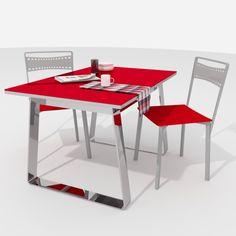 Mesa de cocina Mika, con las patas cromadas y el cristal en rojo brillo. La tienes disponible en www.mesascocina.com