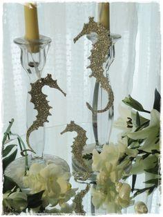 Sparkling Silver Glass Glitter Seahorse Family of Three Ornament Decoration Beach Cottage Decor. via Etsy.