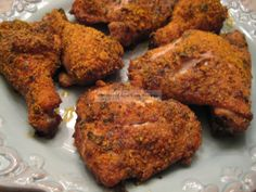 "A low-carb fried chicken made with parmesan cheese and crushed pork rinds, y'all! I have to try this, I miss fried chicken! This recipe reminds me a little of the KFC Chicken ""original recipe"" with all the herbs and spices. Low Carb Fried Chicken, Low Carb Chicken Recipes, Baked Chicken, Oven Chicken, Crispy Chicken, Keto Chicken, Ranch Chicken, Chicken Thyme, Baked Pork"