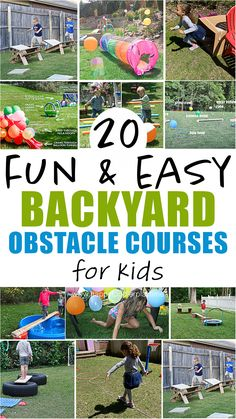 20 super fun and easy to set up backyard obstacle courses for kids. These ideas are prefect for kids of all ages, from toddlers to older kids and everyone in between. Outside Activities, Summer Activities For Kids, Summer Kids, Fun Activities, Outdoor Activities, Outside Games For Kids, Summer Games, Montessori Activities, Toddler Activities