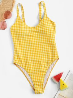 Shop Gingham Scoop Neck One Piece Swimsuit online. SHEIN offers Gingham Scoop Neck One Piece Swimsuit & more to fit your fashionable needs. 2 Piece Swimsuits, Cute Swimsuits, One Piece Swimsuit, Retro Swimwear, Bikini Swimwear, Bikini Tops, Cute Bathing Suits, Beachwear For Women, Bikini Photos