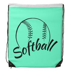 Fun Text Softball Drawstring Backpack by Sports Art Zoo Softball Party, Softball Bags, Softball Backpacks, Play Day, String Bag, Sports Art, Fun Crafts, Drawstring Backpack, Gifts