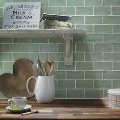 New kitchen wall colors green subway tiles Ideas Kitchen Wall Tiles, Kitchen Backsplash, Room Tiles, Backsplash Ideas, Metro Tiles Kitchen, Green Tile Backsplash, Tile Ideas, New Kitchen, Kitchen Decor